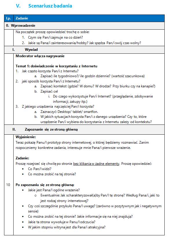 Tabela z przykładowym scenariuszem badania